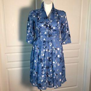 NEWPORT NEWS BLUE FLORAL WAIST TIE DRESS